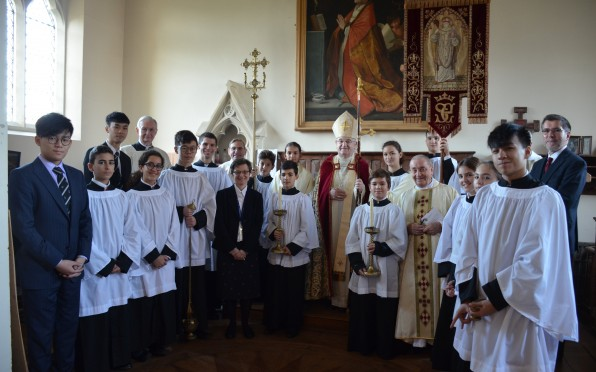 Archbishop Stack with Priests, Headmaster and Servers